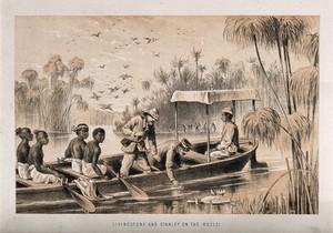 view Henry Morton Stanley and David Livingstone on the River Ruzizi. Lithograph.