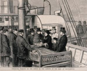 view David Livingstone's body arrives in Southampton; a delegation laying a wreath on his coffin. Wood engraving by H. Harral after G. Durand.