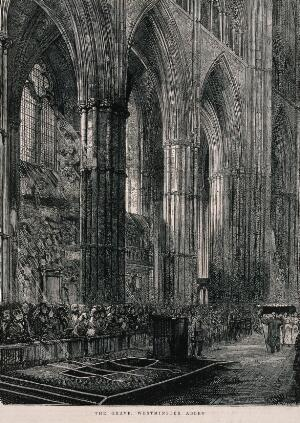 view David Livingstone's grave at Westminster Abbey. Etching.