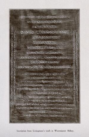 view Inscription on David Livingstone's grave at Westminster Abbey. Photograph.