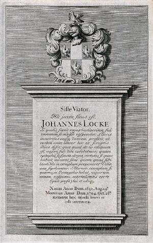view Epitaph on John Locke's tomb; above which is a coat of arms. Etching.