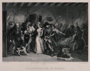 view The arrest of Charlotte Corday; Marat dead in his bath in his bath. Engraving by W. Greatbach after A. Scheffer, 1881.