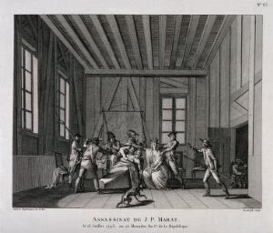 view The arrest of Charlotte Corday after the assassination of Marat in his bath. Engraving by Berthault after Swebach de Fontaines, ca. 1793.