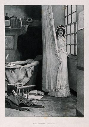 view Charlotte Corday hiding behind a curtain, Marat dead in his bath. Mezzotint (?) by Jules Aviat, ca. 1880.