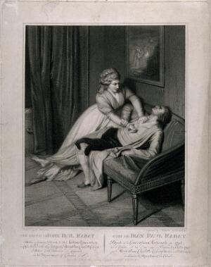 view Charlotte Corday stabbing Marat on a settee. Stipple print by N. Schiavonetti, 1793, after D. Pellegrini.