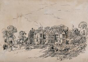 view Embley Park, Hampshire, home of Florence Nightingale. Etching by Frances Parthenope Nightingale, ca. 1860.