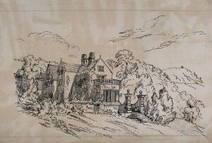 view Lea Hurst, home of Florence Nightingale's family in Derbyshire. Etching by F. Nightingale, ca. 1860.