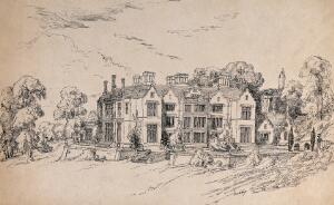 view Embley Park, Hampshire, home of Florence Nightingale. Etching by Frances Parthenope Nightingale, June 1854.