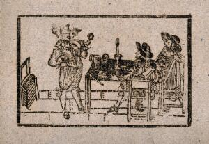 view A man stands smoking a pipe as two onlookers sit at a table. Woodcut, 17th century.