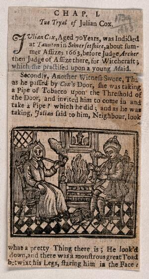 view Julian Cox of Taunton and a man sit smoking by the hearth; a toad is by the feet of the man. Woodcut.