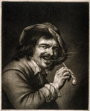 view A man holding a tobacco pipe and blowing a smoke ring. Mezzotint by A. Blooteling (Bloteling) after P. Staverenus.