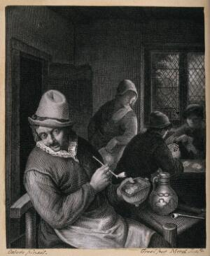 view A man sitting indoors with tobacco pipe, jar and beer jug, behind a woman watches two card players. Engraving by Merot, junior, after A. van Ostade.