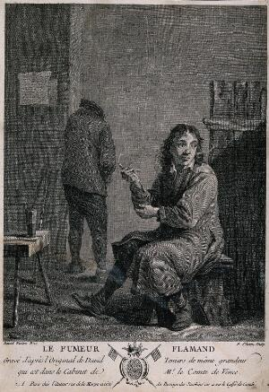 view A man sits on a stool smoking a pipe, behind a man relieves himself against the wall. Engraving by P. Chenu, c. 1750, after D. Teniers.