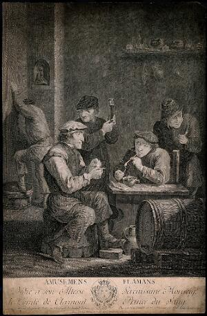 view Four Flemish men smoke and drink in a dingy smoke den, a man leans on the wall behind. Engraving by L. Lempereur, late 18th century, after a painting by D. Teniers, the younger.