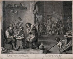 view The interior of a dingy smoke den where groups of men smoke, drink and play cards. Engraving by F. del Pedro, 18th century, after a painting by D. Teniers, the younger.