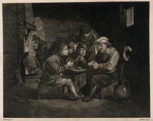view Five men gather round a table to play cards, drink and smoke in a dingy smoke den. Engraving by J. Goldar after D. Teniers, the younger.