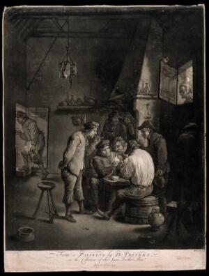 view Two men play cards at a table as others watch, smoke and drink in a dingy smoke den. Mezzotint by W. Baillie, 1771, after D. Teniers the younger.