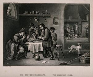 view Five men sit indoors smoking and drinking, others play cards. Engraving, mid-19th century, by W. French after D. Teniers.