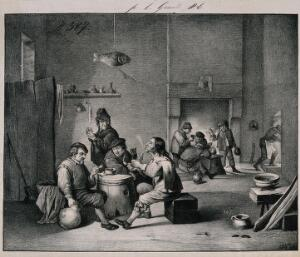 view Four men sit indoors smoking round a barrel-table, others drink by the fireplace. Lithograph after D. Teniers (?).