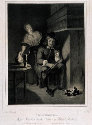 view A man sits by a fireplace lighting his pipe with an ember while a servant girl brings his drink. Lithograph by F. Hanfstaengl after G. Metsu.