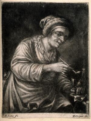 view A woman holding a tobacco pipe and a drinking glass. Mezzotint by B. Lens.