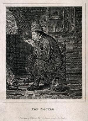 view A man sits smoking by a fireplace with a jug on the floor beside him. Engraving, c. 1825.