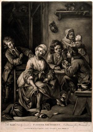 view Six figures passing the time with various entertainments. Mezzotint by J. Wilson, 1771, after G.M. Kraus.