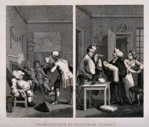 view Two episodes in Tristram Shandy: (left) four figures smoking and relaxing in Shandy Hall; (right) the baptism of Tristram. Engraving after W. Hogarth.