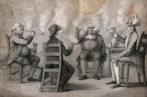 view Four Georgian gentlemen at their club seriously engaged in smoking. Stipple print by H. Bunbury, c. 1794.