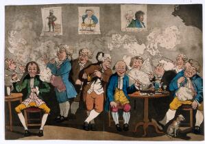 view Georgian gentlemen smoking, drinking and reading newspapers at their club. Coloured aquatint, c. 1784, after G. M. Woodward (?).