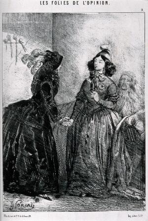 view Two women talking about politics, one of them smoking a pipe. Lithograph by A. Lorentz.