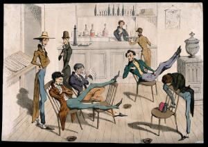 view A club room where various men lounge about and one serves drink at a counter. Coloured etching, mid 19th century.