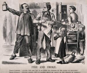 view A French supporter of the Paris Commune prefers to throw an incendiary bomb to advance equality, while a British workman prefers to smoke his pipe in the interests of liberty. Wood engraving by J. Swain, ca. 1871, after Sir J. Tenniel.