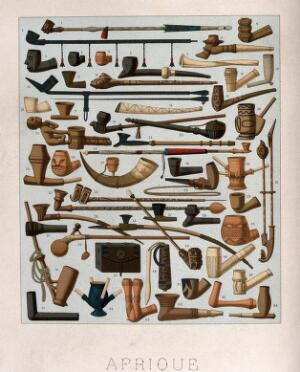 view Fifty four different African pipes. Chromolithograph by Schmidt, c. 1863.