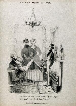 view Three dandies smoking and drinking coffee. Lithograph after H. Heath, c. 1840.