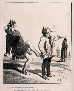 view A boy smokes a cigar given him by a Prussian soldier; a furious Frenchman kicks his behind. Lithograph, c. 1870, after A-C-H. Cham.