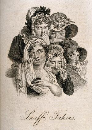 view Five young women taking snuff. Stipple print after L. Boilly, ca. 1825.