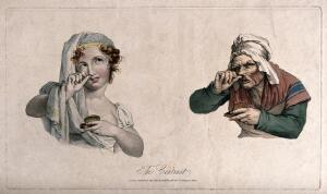 view A pretty girl and an old woman both taking snuff. Coloured stipple engraving after L. Boilly, ca. 1827.