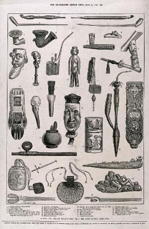view Thirty tobacco-pipes from various countries of the world. Wood engraving, c. 1873, after J. T. Balcomb.