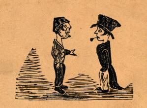 view Two men face one another, one looks bemused and the other smokes a pipe upside down. Wood-engraving, mid-19th century.