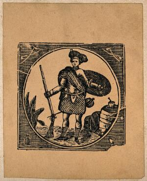 view A Scotsman with a rifle, sword and shield guarding barrels (of tobacco?). Wood-engraving, mid-19th century.