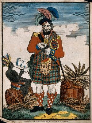 view A Scotsman and a Native American man smoking pipes by barrels of tobacco. Coloured engraving.