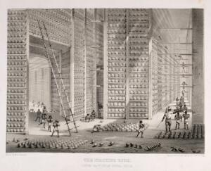 view A busy stacking room in the opium factory at Patna, India. Lithograph after W. S. Sherwill, c. 1850.