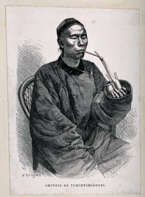 view A Chinese man sits smoking an opium pipe. Wood engraving after E. Ronjat.