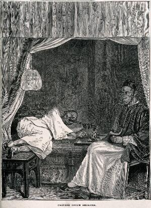 view Two Chinese opium smokers, one reclines on a bed and the other sits. Wood-engraving, late 19th century.