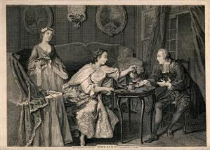 view A fashionable gentleman taking morning tea with a lady in her boudoir: a maidservant stands in the background. Etching, late 18th century.