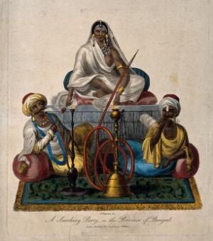 view Three wealthy Indians sit smoking hookas and a cigar. Coloured stipple engraving by J. Chapman, c. 1809.
