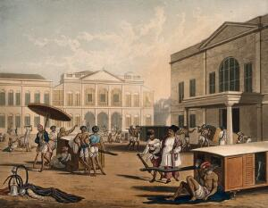 view A Bombay square: some men carry sedan chairs and others smoke. Coloured aquatint after R.M. Grindlay, 1826.
