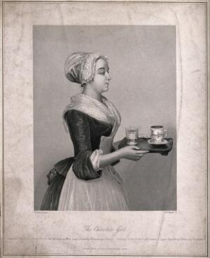 view A pretty maid carrying drinking chocolate on a tray. Stipple engraving by A. H. Payne after Liotard, c. 1743.