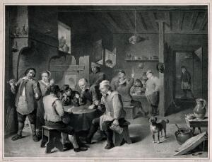 view A society lunch with patrons playing dice, smoking and drinking. Lithograph by R. Leitner, mid-19th century, after D. Teniers.